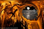 paesaggio onirico dietro a vortice fra le fiamme che bruciano croce