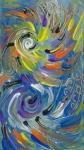 Spirali astratte colorate e forme rotonde con sfumature blu, colore bianco e nero e sfumature di blu,arancione, giallo, porpora, bianco e nero