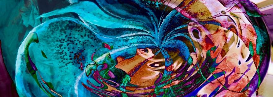 turbinio di colori brillanti in forme fluide e chiaroscuri in vortice astratto con forme astratte opera di fusione di arte e pittura