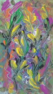 astrazione floreale colorata: immagine astratta colorata con temi floreali e della natura con linee ricurve, forme astratte e macchie di colore