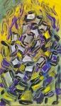 arte astratta geometrica con forme fluide e linee curve piccolo formato a tempera su carta
