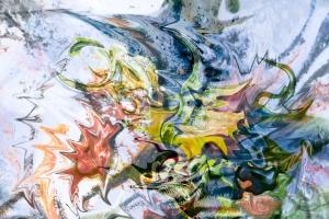 astrazione di forme fluide, immagine a colori screziati con immagini fluttuanti opera di arte di fusione di immagini