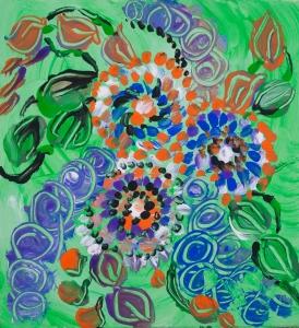 parto verde astratto in verde brillante con forme astratte di fiori tempera su carta