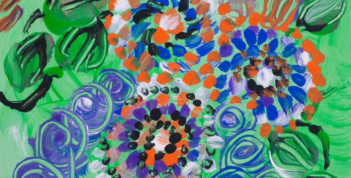 prato verde con fiori dipinti astratto: immagini rotonde concentriche a punti con colori brillanti