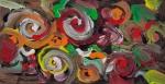 immagine astratta con forme astratte spiraliformi e linee ricurve