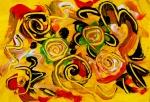rappresentazione astratta di movimento con forme concentriche come spirali tempera su carta