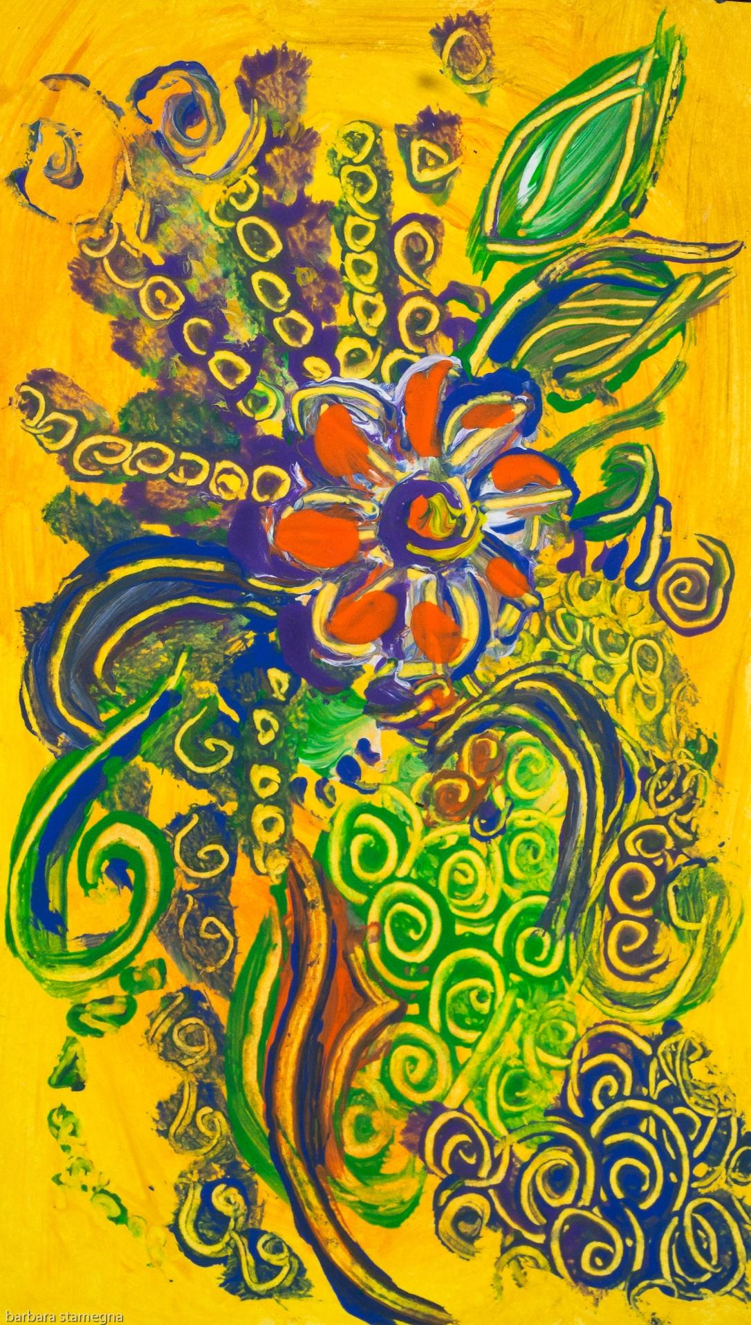 fiore astratto arancione su sfondo giallo con forme di foglie