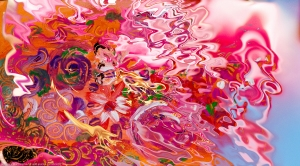 immagine astratta con motivo floreale e consistenza liquida con fiori e forme fluide su sfondo sfuocato
