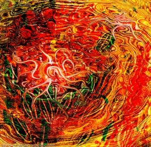 immagine di arte astratta con un movimento come di una energia fluida che nasce con una forma curva astratta al centro