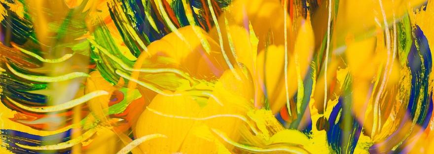 astrazione di fiori gialli con linee fluide ricurve in toni di dominante di colore giallo