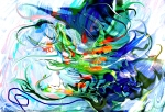 movimento come di forme liquide in immagine astratta screziata con forme fluide e linee