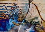 forme fluide,linee,onde astratte e colori in tonalità blu e marroni che richiamano una dimensione di sogno