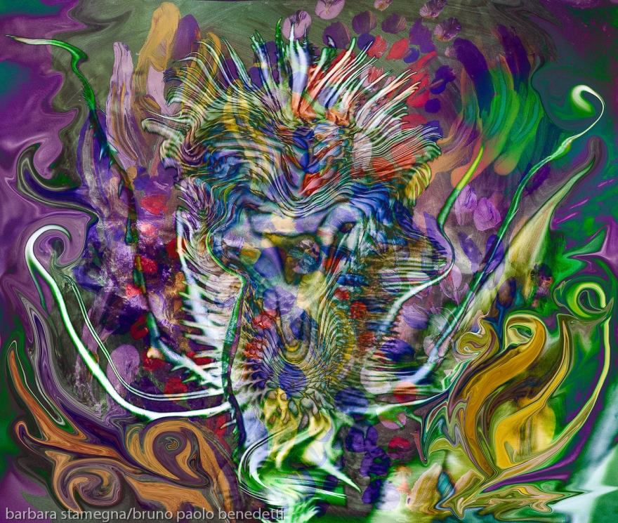 fiore astratto spinoso: immagine colorata con forme fluide astratte e una forma centrale spinosa