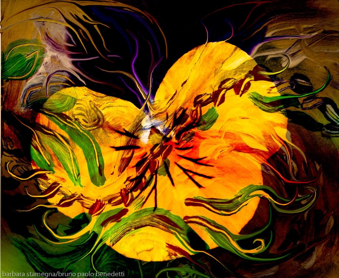 immagine dai forti contrasti con forme verdi come linee fluttuanti dai vari colori su astrazione a forma di fiore