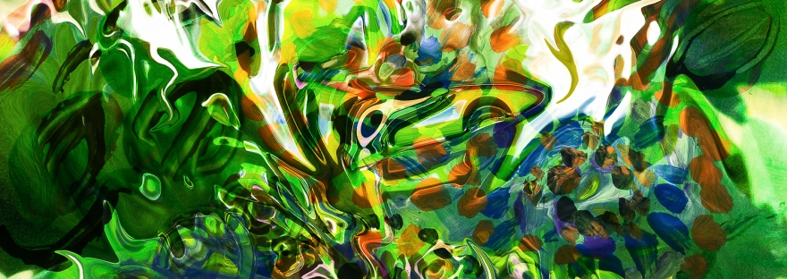 immagine colorata con movimento di forme fluide astratte in colore verde dominante e toni bianchi