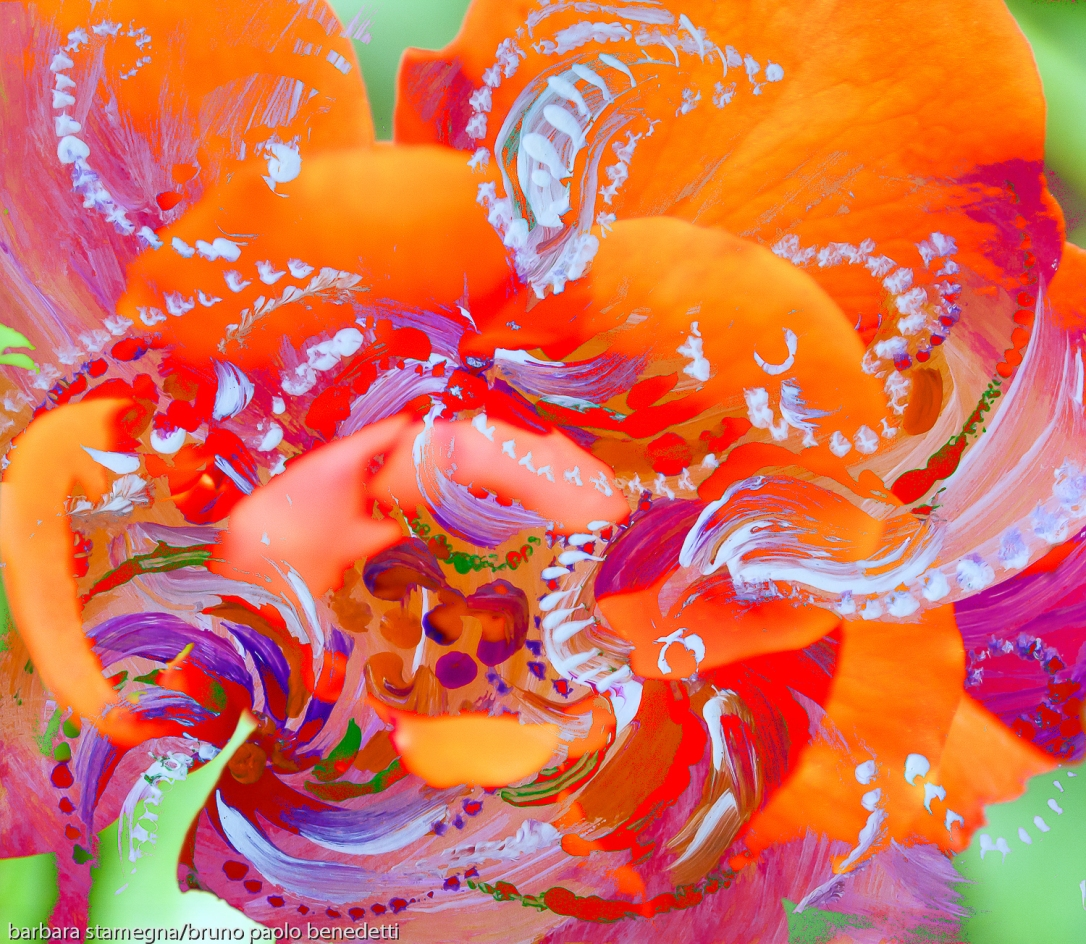immagine astratta dinamica con forme astratte in movimento tipo un turbinio di fiori, in dominante di colore rosso e toni arancioni