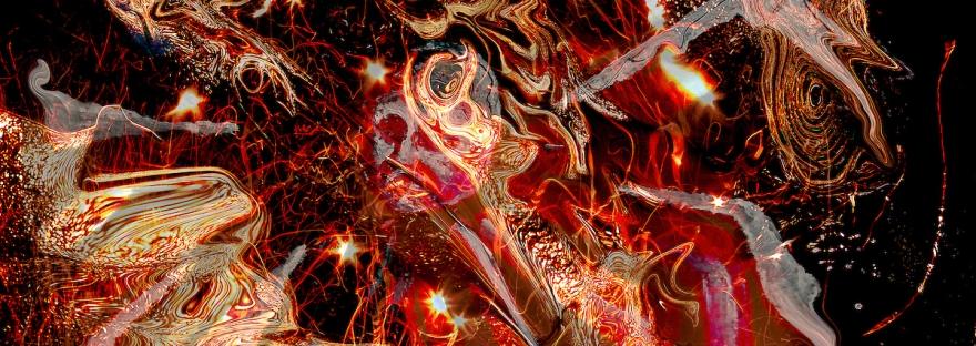universo astratto di fuoco turbinante: turbinii di fiamme e forma astratte concentriche con testa centrale su sfondo nero