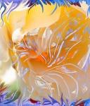 immagine di arte astratta dai colori caldi con forma simile a fiore con pistilli con forme astratte che si sviluppano da un nucleo di colore arancione
