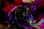 immagine di arte moderna astratta con forme fluide astratte di colore arcobaleno su sfondo nero