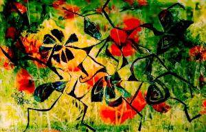 prato fiorito astratto giallo e verde con astrazioni di fiori rossi su tema di forme astratte di fiori fluttuanti