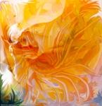 immagine astrattae di fiore in atmosfera di sogno, immagine evocativa in dominante di colore arancione con forme fluide astratte come pistilli