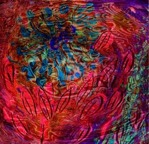 immagine astratta con forme simili a fiori e foglie sotto una superficie liquida di colore fucsia scuro