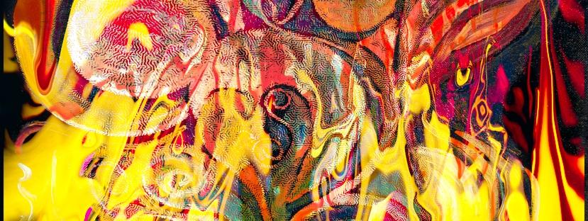 immagine astratta dai colori brillanti con rappresentazione come di un fuoco che si manifesta con forme come di fiamme su sfondo variopinto