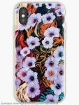guscio per i phone con disegno di astrazione come di fiori eterei fluttuanti di colore indaco su sfondo screziato variopinto