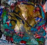 immagine dai molti colori che suscita impressioni ispirate a un ambiente fiabesco con forme dinamiche che ricordano pesci e con riflessi di luce