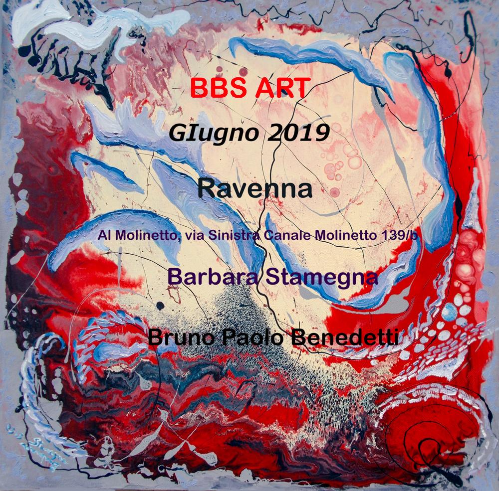 dipinti di arte astratta di Barbara Stamegna e arte digitale da foto di Bruno Paolo Benedetti a Ravenna giugno 2019