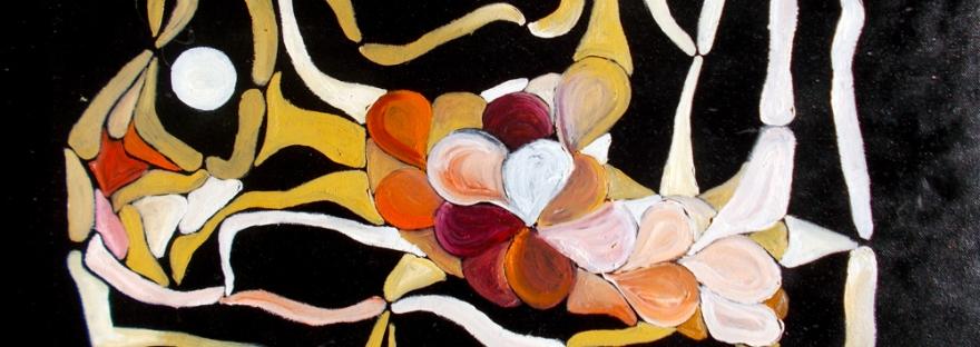composizione di forme astratte con colori bianco,arancione,sfumature di giallo,toni brunastri e rossi,colori come di vino con forme curve e rotonde irregolari e forme lunghe spezzate su sfondo in smalto nero