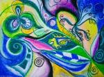 forme e figure dinamiche in movimento in toni dominanti blu e verdi con turbini,cerchi e forme concentriche, astrazioni di foglie e fiori con forme geometriche e riccioli