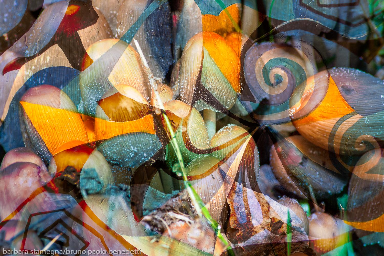 immagine dinamica astratta in toni tenui con riccioli,forme geometriche rotonde e trasparenze con trama screziata