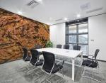 adesivo murale con un tema autunnale astratto con foglie e alberi in un vortice sulla parete di una sala riunioni
