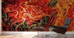 stampa murale con tema astratto fluido come di energia nascente in dominante di colore rosso con forma fluida