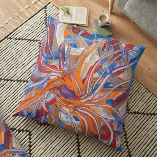 conflluence shape abstraction design floor pillow