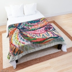 motivo astratto concentrico della natura su coperta da letto