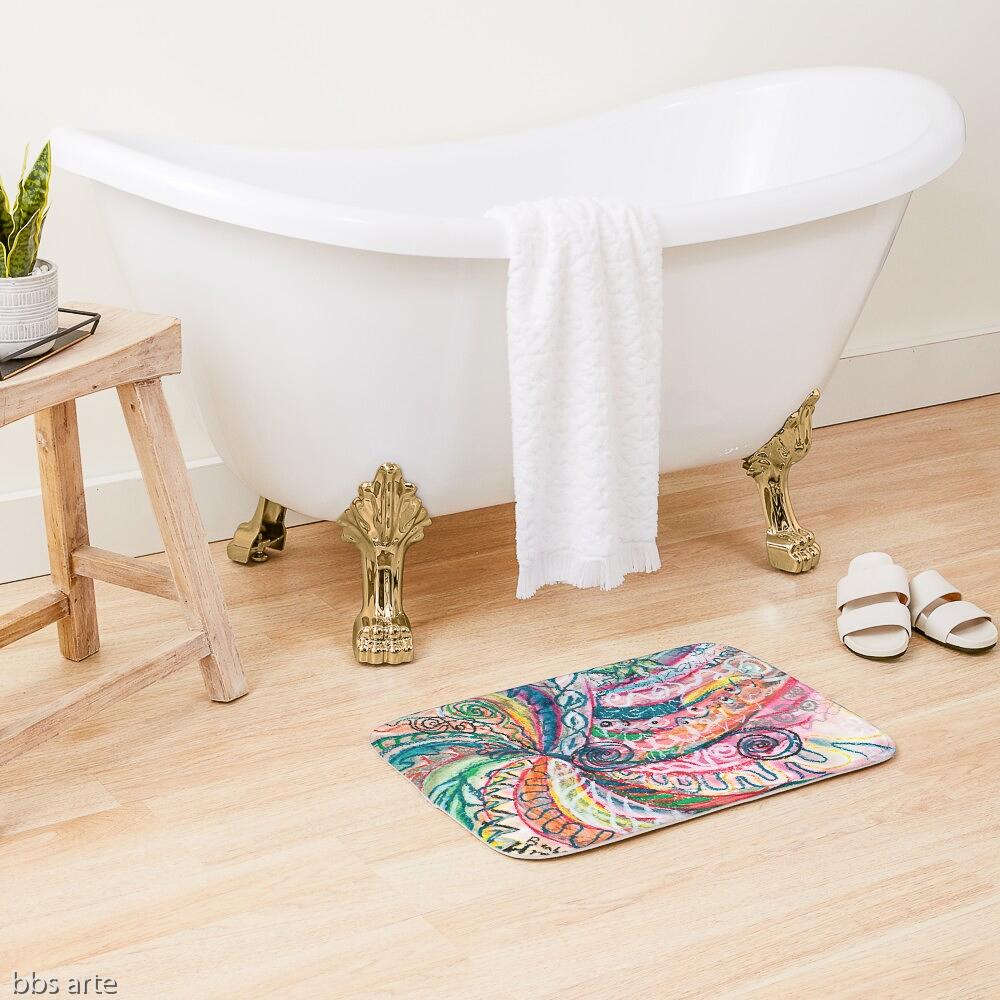 tappetino da bagno con design astratto creazione di natura concentrica