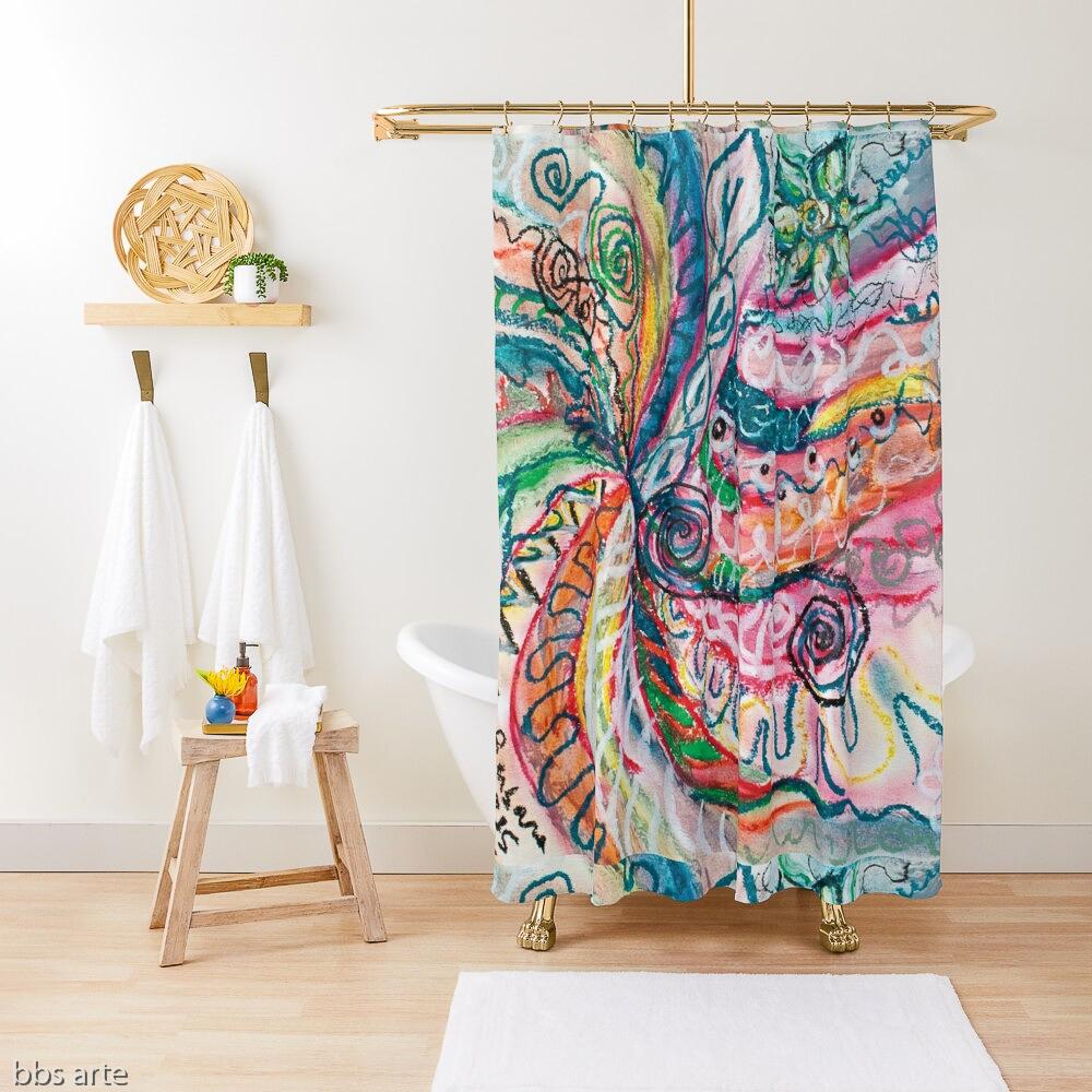 tenda da doccia con design astratto creazione di natura concentrica